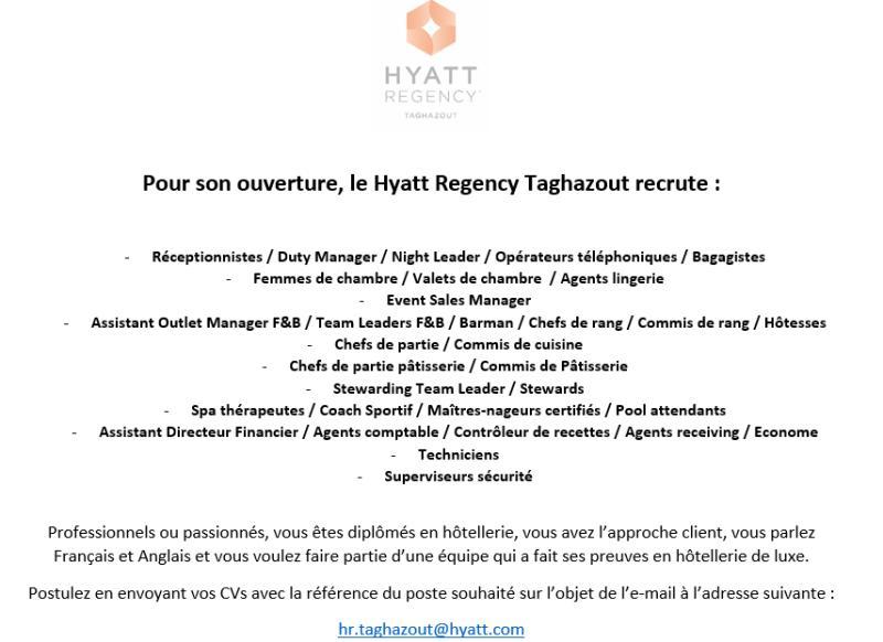 فندق حياة ريجنسي تغازوت يعلن عن حملة توظيف تخصصات كثيرة Hyatt Regency Taghazout