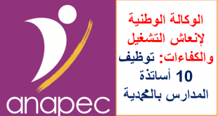 الوكالة الوطنية لإنعاش التشغيل والكفاءات: توظيف 10 أساتذة المدارس بالمحمدية